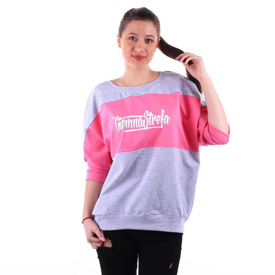 6852edb252 Ciemna Strefa - CS Oversize Bluzka Damska kolor szary różowy ...